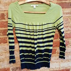 Banana Republic green and navy sweater Excellent condition. Size small. Banana Republic Sweaters