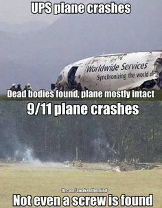 """"""" Not a screw was found at Shanksville.* There's no evidence that a 757 ever hit the Pentagon.** So, why are you an outrageous conspiracy theorist when you question what actually hit or or not hit. 911 Conspiracy, Conspiracy Theories, Illuminati, Paranormal, 11 September 2001, Hidden Agenda, Religion, Question Everything, World Trade Center"""
