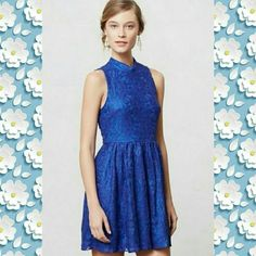 Moulinette Souers/Anthropologie🎉Host Pick 12/28 Amazing staple dress with lovely lace detailing in a royal blue. 37 bust 31 waist 39 Hip All clothing  ? from a smoke free, child free and pet free environment  ?No more than one previous owner  ?Free goodies with each shipment  ?Professionally cleaned and shipped next day ? New with tag (NWT) will not be professionally cleaned.  ?Open to fair offers  ?Im a bundlelista, so bundle up and save! Anthropologie Dresses