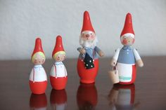 Scandinavian Swedish Wooden Tomte/Gnomes/Elves/Figures Family of 4 Marked Sweden