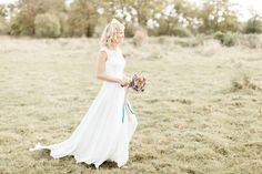 Bride | Wedding Dress | Bouquet | Fine Art Wedding Photography by Kerry Bartlett | Somerset Photographer | Sopley Mill | Bournemouth