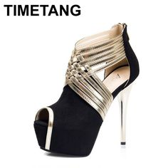 49.88$  Watch here - http://alibxq.worldwells.pw/go.php?t=32676957545 - 2016 New High Heels High Jump Roman Style Salto Alto 14cm Sapatos De Salto Alto Toe Sexy Shoes for women Black High Heels