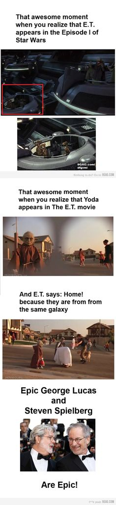 I knew the ET aliens were in Star wars, but I forgot about the Yoda in ET and that the alien gets SO EXCITED about going home when he sees Yoda on the street. Awesome