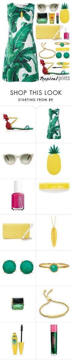 """""""Pineapple of My Eye Outfit"""" by ohsosartorial on Polyvore featuring Aquazzura, Dolce&Gabbana, Zanzan, Miss Selfridge, Essie, France Luxe, Miu Miu, BillyTheTree, Monica Vinader and Marc Jacobs"""