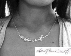 Collar de firma personal - plata - escribir a mano / Memorial nota collar - cualquier lengua, cualquier símbolo es posible
