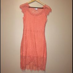 ✨Beautiful Coral lace dress sz m✨ New without tag! ❌no trades❌  PLEASE NOTE THAT IS NOT for Love for lemons❌ it was marked this way to exposed this beautiful dress❤️❤️ For Love and Lemons Dresses Mini
