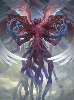 """For the Eldritch Moon set of Magic: The Gathering. The uber-baddy Emrakul has come to Innistrad and it's presence has mutated the legendary angels Bruna and Gisela into the new Eldrazi creature Brisela. While not a """"pretty"""" picture this is one of my favorite recent images. It hits very close to what I had in mind though it did take a lot of time."""