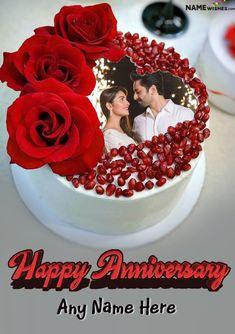 Happy Marriage Anniversary Cake, 1st Wedding Anniversary Wishes, Happy Anniversary Photos, Anniversary Cake With Photo, Happy Birthday Wishes Photos, Anniversary Verses, Romantic Anniversary, Anniversary Flowers, Silver Anniversary