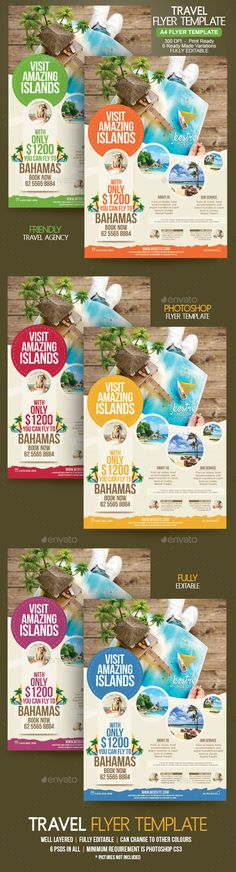 Travel #Flyer - Holidays #Events Download here:  https://graphicriver.net/item/travel-flyer/20145197?ref=alena994