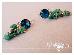 sterling silver swarovski blue turquoise gemstones RebelSoulEk earrings blue lagoon