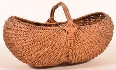 Antique Woven Oak Splint Gathering Basket. : Lot 538