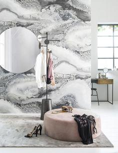 marmer-behang-kleedkamer Look Wallpaper, Master Plan, Walk In Closet, Bedroom Wall, Bedroom Ideas, House Design, Interior Design, Closet Ideas, Home Decor