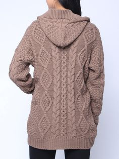 Please Note: This style is listed based on international sizing, although the label size may be Asian we have converted it to the international standard. Aran Knitting Patterns, Knitting Designs, Knit Patterns, Sweater Coats, Sweaters, Brown Sweater, Chic Outfits, Fashion Outfits, Free Baby Blanket Patterns
