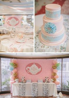 Romantic Tea Party Cake + Dessert Table