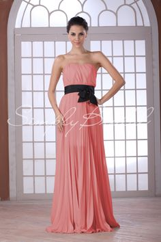 A-line Chiffon Dress with Sash #simplybridal #maidofhonor w/ a gold or mint bow