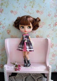 Blythe Gray Plaid and Pink Dress. Collared by WhimsiesOnTheMoon