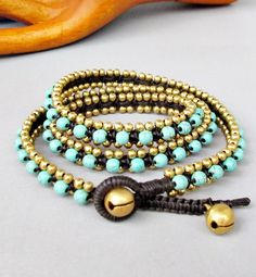 Charm Triple Wrap Bracelet with Turquoise Stone and Brass Bead W175 on Etsy, $15.00