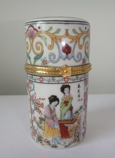 Vintage Chinese Hand Painted Porcelain Jewelry Box