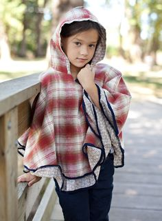 Girl and a Mouse Plaid Poncho in Brick,  littleskyechildrensboutique.com