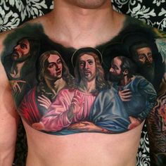Last supper chest tattoo, a ton of black ink