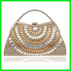 181255d32 HAPPYTIMEBELT Pearl Beaded Wedding Clutch for Bride and Bridesmaids(Golden)  - Evening bags (