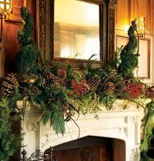 evergreens & pinecones mantle
