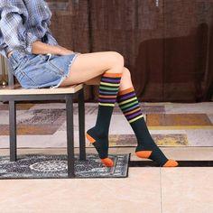 Toamna Si Iarna Dama Dungi In Sosete - Funny Socks, High Socks, Knee Boots, Mall, Casual, Vintage, Fashion, Tricot, Moda