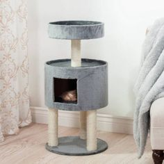 Petmaker Kitty Cat Condo with Overhead Balcony, Grey, White