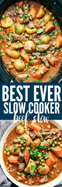 ***Best Ever Slow Cooker Beef Stew ~ a thick and rich sauce filled with hearty and chunky potatoes, carrots, onions, and peas with the most amazing tender melt in your mouth beef!