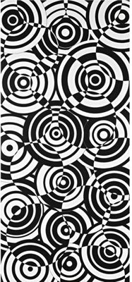 interesting, fractured-looking design | black and white design consisting of overlapping disks, each with uneven bulls-eyes, with the values reversed in offset, overlapping circular areas