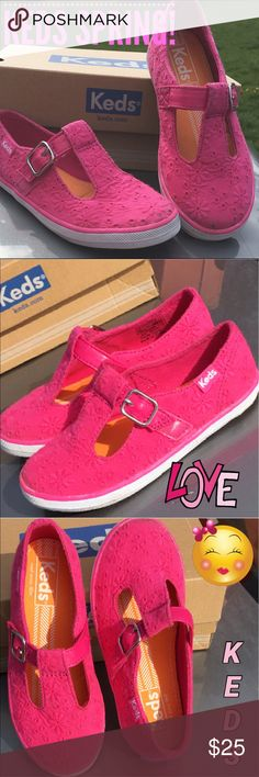 New Girls Keds Sneaker For Spring! 💕💕💕 New girls Keds sneaker for spring. A classic T strap! Pink, soft, lightweight, and flexible.... You and especially your little girl, will love these! 😍😍😍😍 This is a last pair sale. 😞 They run a touch small please keep that in mind when purchasing. Keds Shoes Sneakers
