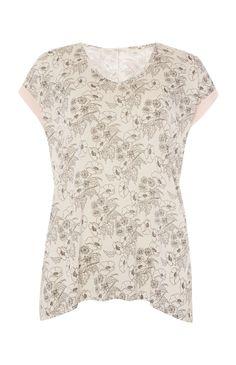 Primark - White Floral T-Shirt