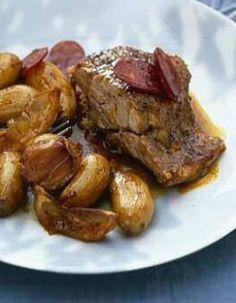Epaule d'agneau confite, pommes de terre nouvelles au chorizo - ELLE