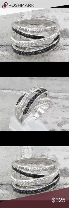 🎉HP🎉 925 SS .50ctw genuine black & white diamond 925 Sterling Silver.50ctw Genuine black & white diamond ring 3G-SZ 10.5 absolutely stunning 925 Jewelry Rings