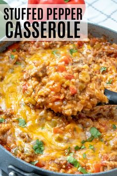 recipes This Stuffed Pepper Casserole has all the delicious flavors of regular stuffed peppers but turned inside out and made in one pan, keeping the mess to a minimum! Dinner Casserole Recipes, Casserole Dishes, Easy Dinner Recipes, Breakfast Recipes, Easy Meals, Steak Casserole, Noodle Casserole, Recipes For Casseroles, Unstuffed Pepper Casserole