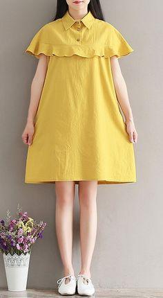 Women loose fit over plus size pocket dress collar ruffles cap sleeve fashion