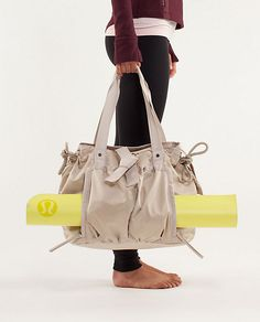 Om Tote by Lululemon, stores your yoga mat, laptop, dirty clothes, and so much more!! Awesome Christmas present!!!