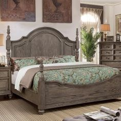 Rustic Style King or Queen Poster Bed in Wire Brushed Gray Bedroom Furniture Italian Bedroom Furniture, Rustic Bedroom Furniture, Grey Furniture, Bedroom Furniture Stores, Furniture Deals, Furniture Nyc, Steel Furniture, Wooden Bedroom, Luxury Furniture