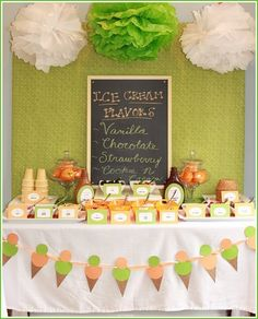 Ice cream social- love the chalk board with flavors