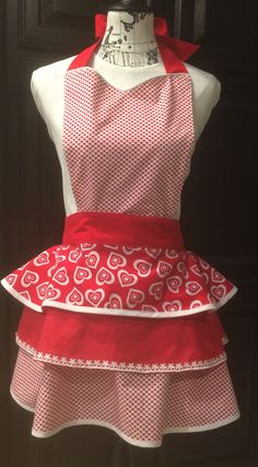 Women's Valentine Apron Red Ruffle Apron by TheSisterhoot on Etsy