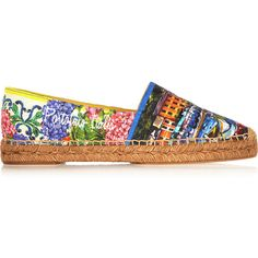 Dolce & Gabbana Portofino printed brocade espadrilles (£255) ❤ liked on Polyvore featuring shoes, sandals, flats, blue, colorful sandals, slip on shoes, espadrille sandals, slip on flats and multi color flats