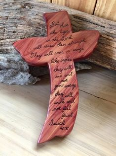 On the Wings Cedar Cross/Divine Crosses Wooden Crosses, Wall Crosses, Wooden Art, Christian Crafts, Christian Symbols, Christian Crosses, Christian Quotes, Wood Crafts, Diy And Crafts