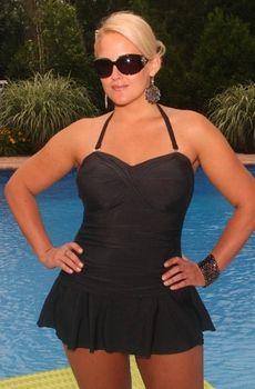 Women's Plus Size Swimwear - Always For Me Chic Solids - Twist Front Bandeau Swimsuit
