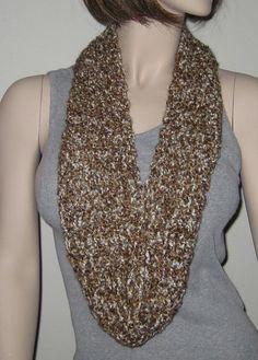 Black Friday Sale Crochet Homespun Infinity Scarf by DeniseBlack