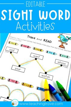 Create motivating and hands-on centers or stations for your kindergarten or first grade students. With 38 different themes in this pack, you will have a wide range of sight word, phonics, spelling or word work worksheets and playdough mats. And you can create them in seconds. These fun printables are perfect for small groups and centers.  #sightwordpractice #sightword