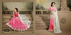 Very beautiful Wedding saree. Pink and White Colored Netted with beautiful heavy embroidery work Pallu. Along with Contrast Matching Netted Skirt and Embroidered Silk Blouse