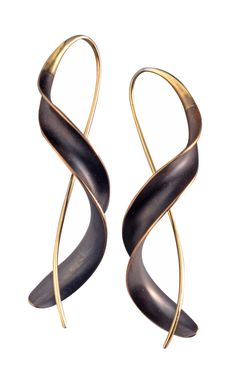 "$370  -  Bronze Ribbon Earrings by Nancy Linkin. Using the anticlastic raising technique, Linkin transforms flat sheets of bronze into exquisite adornments with elegant curves. After finishing each piece with a rich heat patina, the artist polishes the edges to accentuate the sculptural forms. 2"" long."