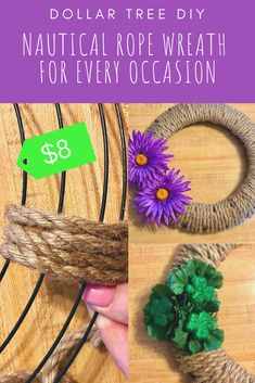 Easy Dollar Tree DIY—Nautical Rope Wreath for Every Occasion – Small Stuff, Big Family Dollar Tree Fall, Dollar Tree Decor, Dollar Tree Crafts, Diy Fall Wreath, Wreath Crafts, Spring Wreaths, Wreath Ideas, Rag Wreaths, Diy Craft Projects