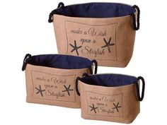 Functional and stylish, these nested storage bins will complement your coastal and beach decor with practical purpose Set of 3 heavy duty jute bags with navy fa