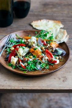 Warm Winter Vegetable Salad with Lemony Feta & Coriander Dressing & Quick Garlic Flatbreads